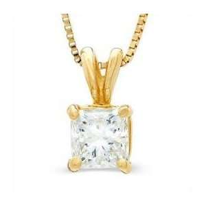 White Gold Princess Cut Solitaire Diamond Pendant (0.75 ctw, H I/SI