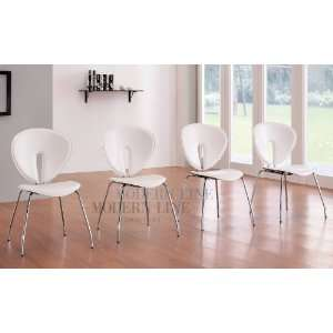 Contemporary Set of Four White Stackable Dining Room Chairs with Brush
