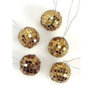 Pack of 6 Gold Mirror Disco Ball Christmas Ornaments