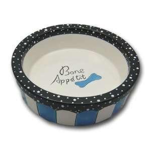 Bistro Dog Puppy Food Bowl Dish Porcelain Blue Large