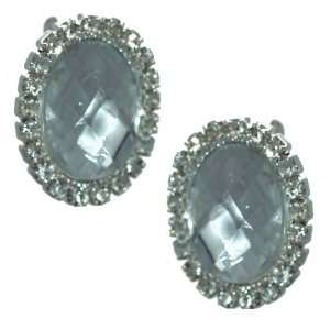 Urbana Silver Clear Crystal Clip On Earrings Jewelry