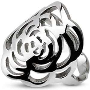 Size 5  Spikes Stainless Steel Two tone Rose Design Ring Jewelry