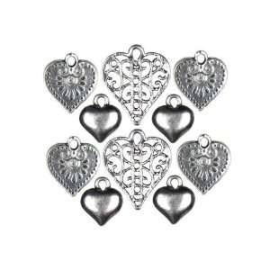 Silver Mixed Heart Charm   Jewelry Basics Charm Arts, Crafts & Sewing