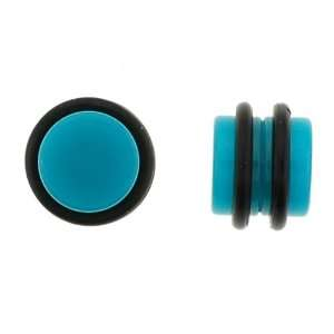 No Piercing Required   High Quality Blue Acrylic Fake Plugs