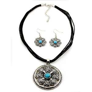 Fashion Jewelry Desinger Inspired Silver Oxideized Turquoise Necklace