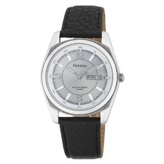 Mens 201927SVBK Silver Tone Dress with Black Leather Strap Watch