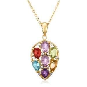 Sterling Silver Multi Gemstone Teardrop Shaped Pendant, 18.5 Jewelry