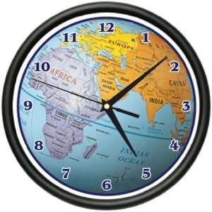GLOBE Wall Clock world map atlas geography teacher gift