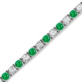 10k White Gold Diamond and Emerald Bracelet SZUL Jewelry