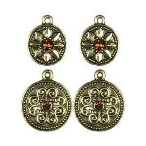 Cousin Jewelry Basics Metal Charms 4/Pkg Gold/Topaz Round