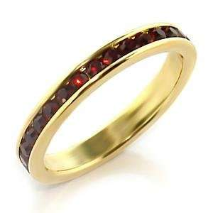 Size 6 Siam Crystal Brass Gold Plated Ring AM Jewelry