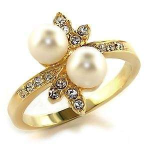 Size 6 White Synthetic Stone Brass Gold Plated Ring AM Jewelry