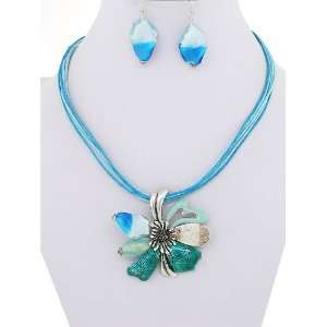 Fashion Jewelry ~ Metal Flower Blue Murano Glass Necklace