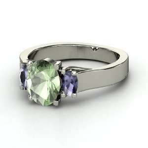 Ramona Ring, Oval Green Amethyst 14K White Gold Ring with
