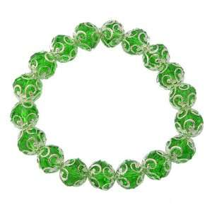 Vivid Green Crystal Glass Stretch Bracelet Jewelry