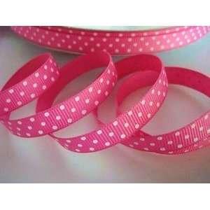 50 Yards Polka Dots Grosgrain 3/8 Ribbon (R79 02 roll) Hot Pink/white