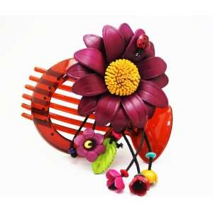 Craft Genuine Leather Purple Flower Hair Comb Barette Clip Bowl Holder