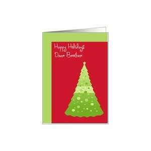 Happy Holidays Brother, green Christmas tree on white Card