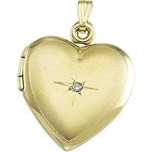 14k Yellow Gold Heart Shaped Locket W/diamond Jewelry