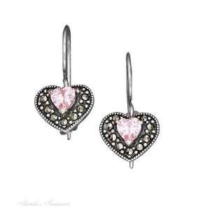 Marcasite Heart Pink Cubic Zirconia Heart Center Earrings Jewelry