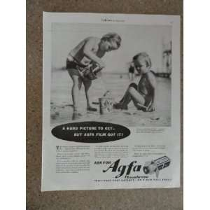 Agfa Plenachrome Film, Vintage 30s full page print ad (kids playing