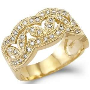 Gold Ladies CZ Cubic Zirconia Fashion Design Band Ring New Jewelry