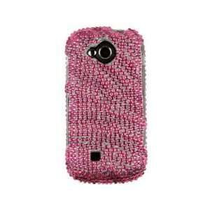 Diamond Covered Phone Protector Case Hot Pink Zebra For