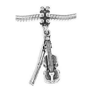 Silver Musical Instrument Violin with Bow Dangle Bead Charm Jewelry