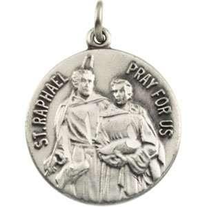 IceCarats Designer Jewelry Gift 14K Yellow Gold St. Raphael Medal. 18