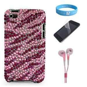 Elegant Pink Zebra Rhinestones Protective Case for Apple iPod