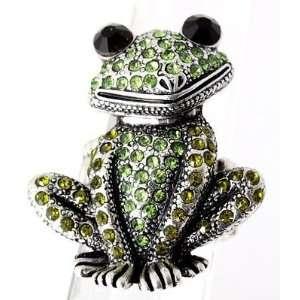 Crystal Frog Stretch Ring Green Kermit Burnish Silver Tone
