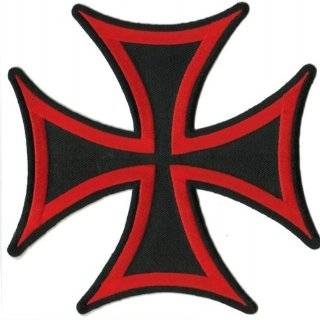 Large Black & White Iron Cross   8 3/8 x 8 3/8   Embroidered Iron On