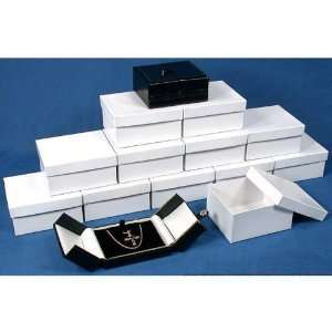 12 Pendant Necklace Boxes Black White Leather Display