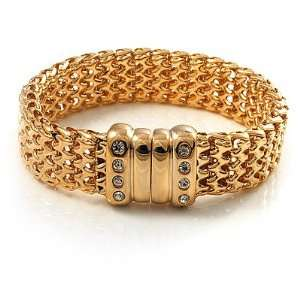 Gold Tone Crystal Mesh Magnetic Bracelet Jewelry