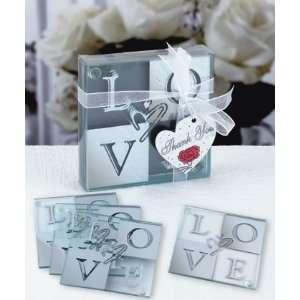 Love Glass Coaster Set   Mirrored Finish (4 pcs per set