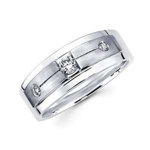 Size  8   New 14k White Gold Mens Diamond Solitaire Wedding Ring Band