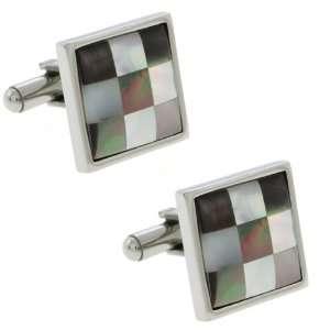 Of Pearl Checker Board Style Stainless Steel Men Cufflinks 19X19mm
