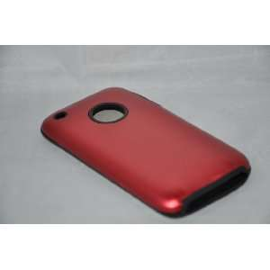 iPhone 3G Red Metal over Silicone case cover Everything