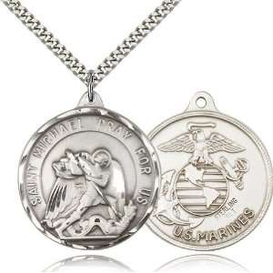 Genuine IceCarats Designer Jewelry Gift Sterling Silver St. Michael
