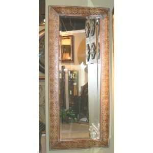 Ornate Full Length Embossed Copper Mirror Large Wall or Floor Beveled