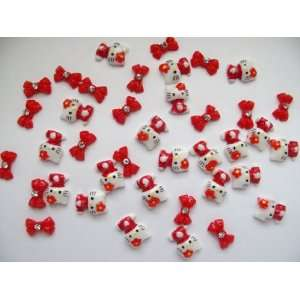 Nail Art 3d 40 Pieces Mix Red Hello Kitty/Bow for Nails, Cellphones 1