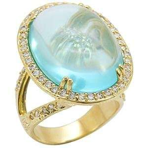 Circle Aqua Marine Synthetic Stone Brass Gold Plated Ring AM Jewelry