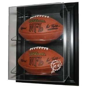 Mountable Double Football Display Case with Engraved NFL Team Logo
