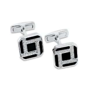 14K White Gold Diamond & Onyx Cuff Links 0.52 ct. Jewelry
