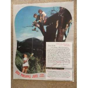 Juice , Vintage 40s full page print ad. (kids/tree house)Original