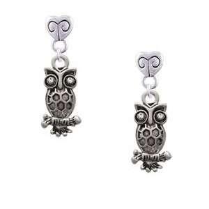 Owl with Clear Swarovski Crystal Eyes Mini Heart Charm Earrings Arts