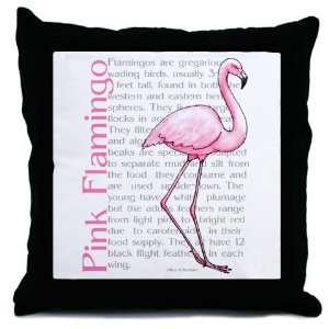 Pink Flamingo Art Throw Pillow  Home & Kitchen