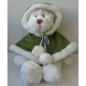 Winter White Teddy Bear with Green Hooded Cloak Stuffed Animal Plush