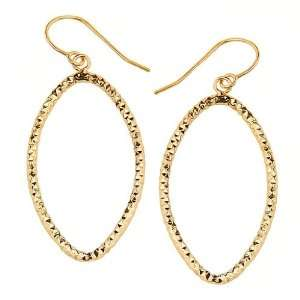Yellow Gold High Polish Oval Shape Fluted Fish Hook Earrings for Women