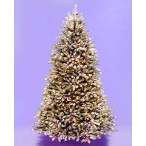 Flocked Dunhill Fir Pre Lit Artificial Christmas Tree Berries Cones